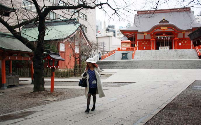 Shinjuku Hanazono Shrine, tokyo temple, red tori gates, shinto shrine, shinto architecture