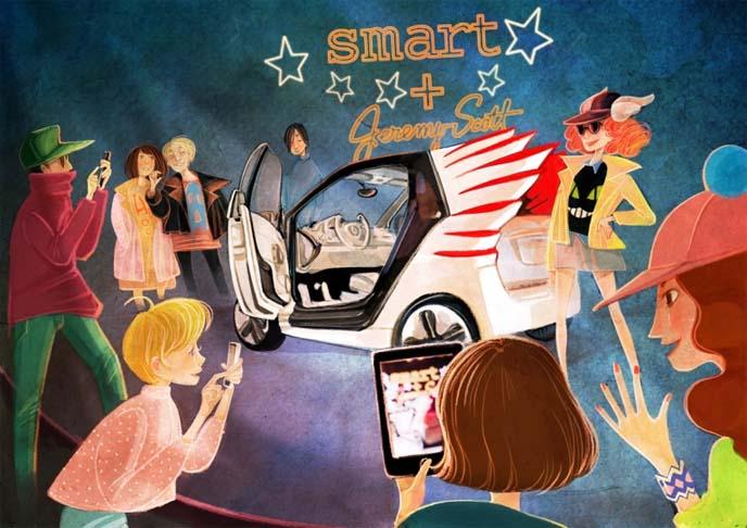 Jeremy Scott smart car, smartcar, smartforjeremy, Nancy Zhang illustration, Nancy Zhang artist