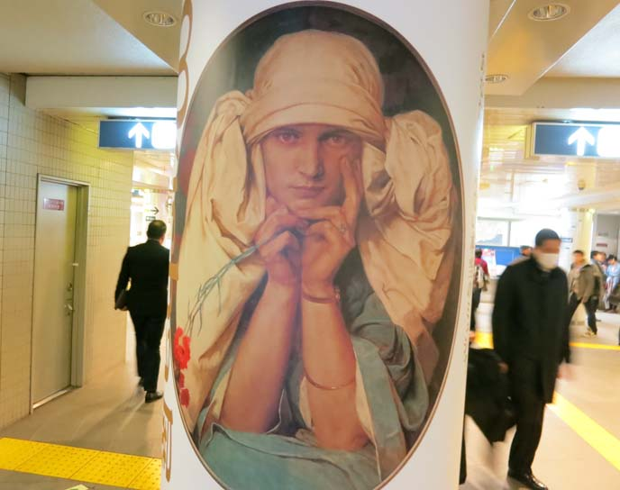 alphonse mucha daughter, Jaroslava portrait, mucha painting, woman in turban
