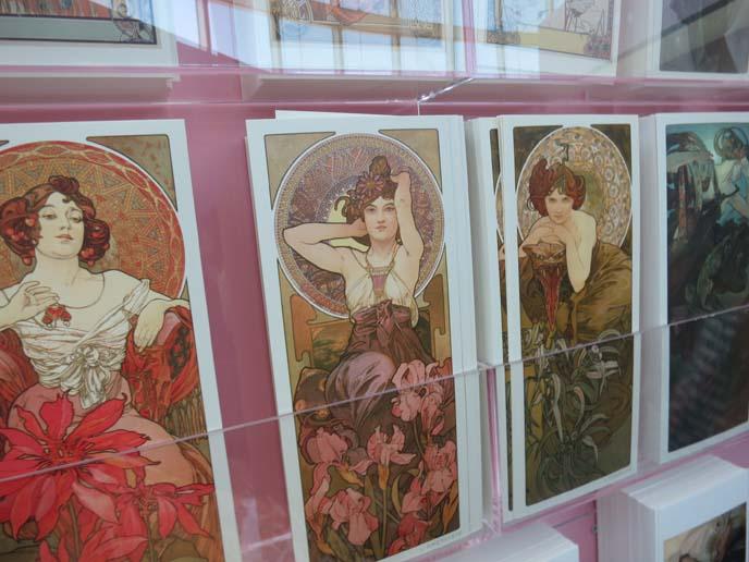 alphonse mucha seasons, art nouveau females, mucha art exhibit tokyo