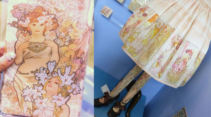 innocent world alphonse mucha collaboration, sweet lolita dress, mucha clothing, art nouveau fashion, mucha tights, art nouveau stockings