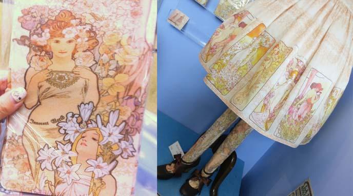 innocent world alphonse mucha collaboration, sweet lolita dress, mucha clothing, art nouveau fashion, mucha tights, art nouveau stockings