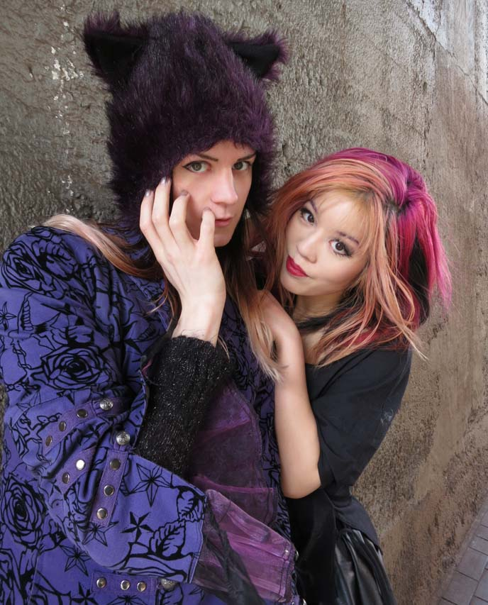 cat ears hat, cat-eared hat, kitty jacket, purple rose jacket