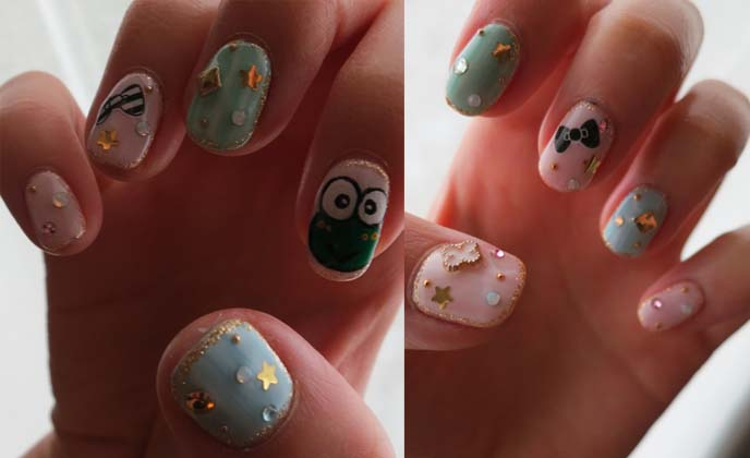 hello kitty nail art, keroppy nails, japanese cute gel nail art
