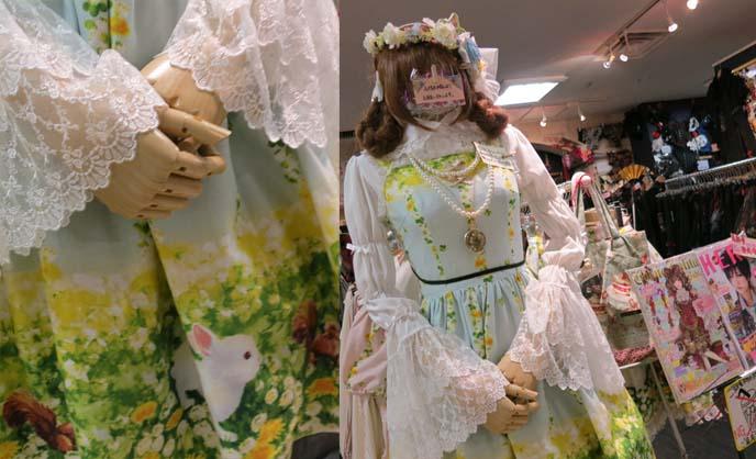 bunny print dress, antique dolly, mori lolita, flower crown hair
