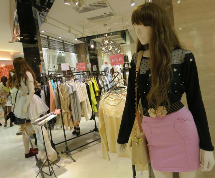 pastel japanese clothing, black lace top, heart skirt