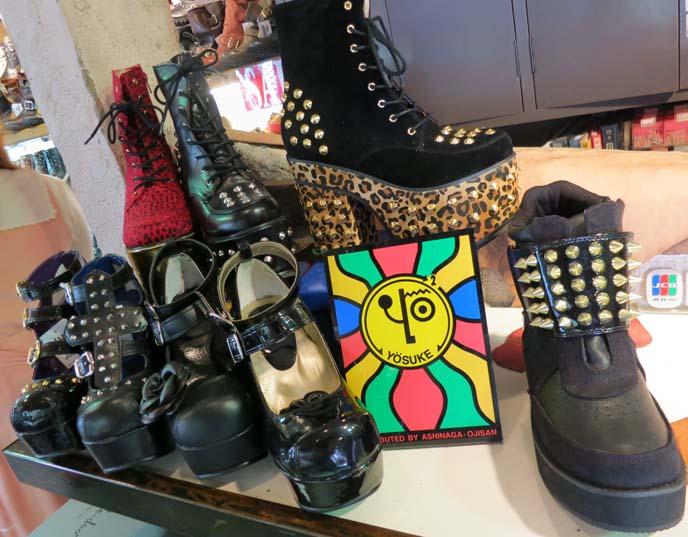yosuke shoes, goth punk boots, leopard print studded shoes, gothic studded boots, rocker boots
