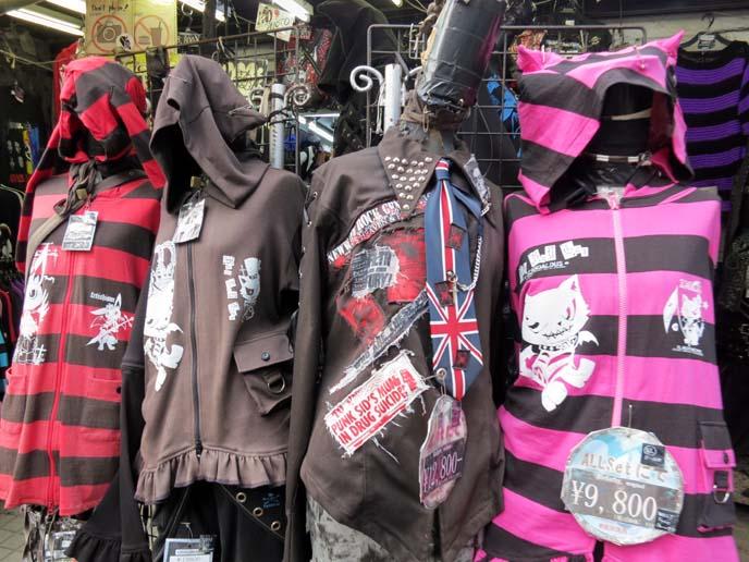 punk fashion tokyo, goth punk clothes, striped hoodies, visual kei