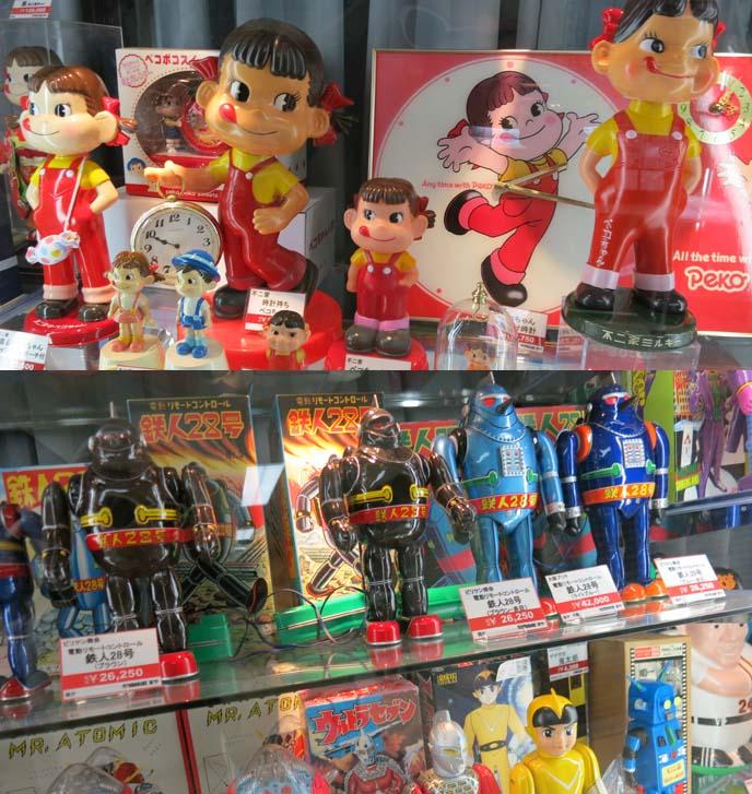 peko-chan, Fujiya co mascot, robots, retro japanese toys