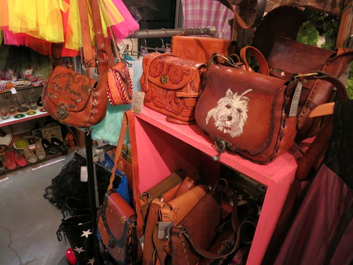 japan secondhand shop, thrift store, leather satchels