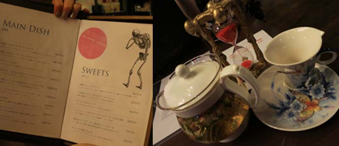 rose tea, goth menu, gothic food