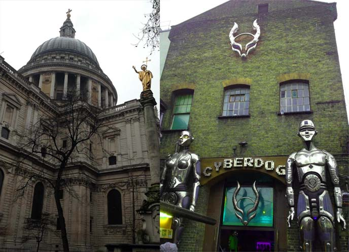 cyber dog, cyberdog rave shop, rave clothing store, camden market stores, st paul's cathedral