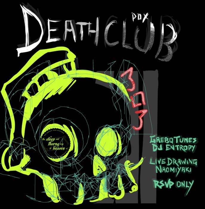 portland goth, portland goth parties, deathclub, oregon goths, gothic events, skull drawing