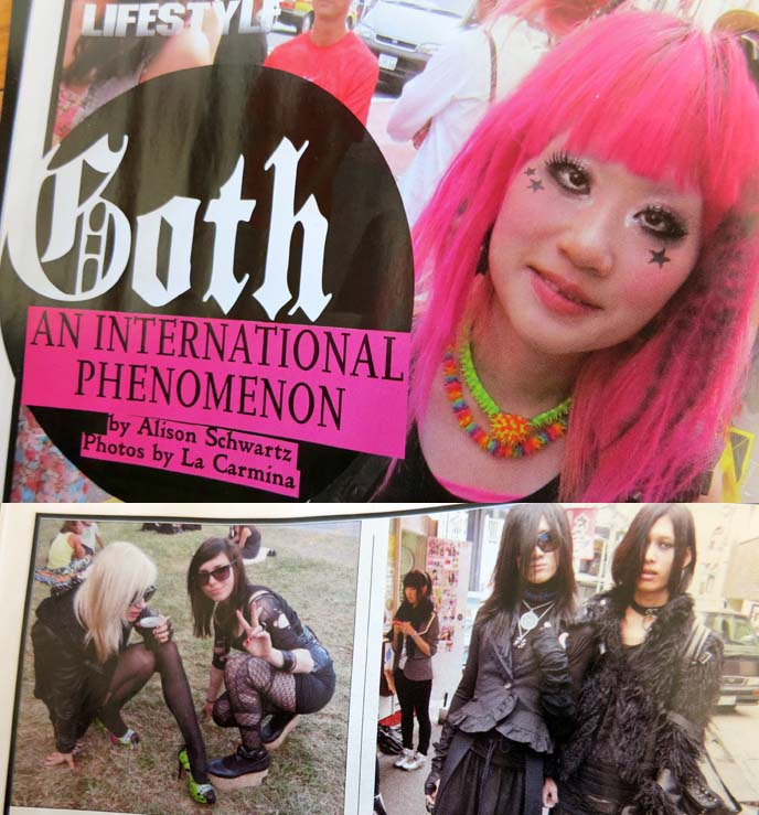gothic beauty article, goths around the world, la carmina shoes, pink hair japanese goth, harajuku hairstyle