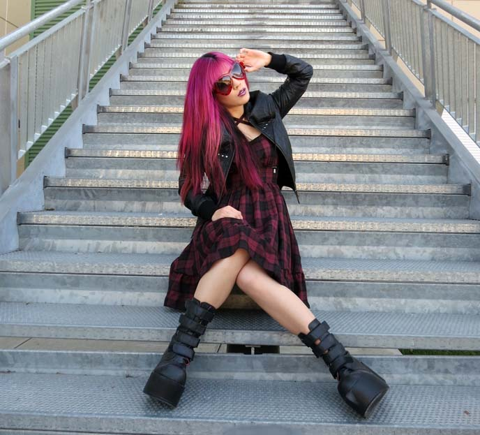 goth platform boots, fashion blogger outfit post, magenta hair
