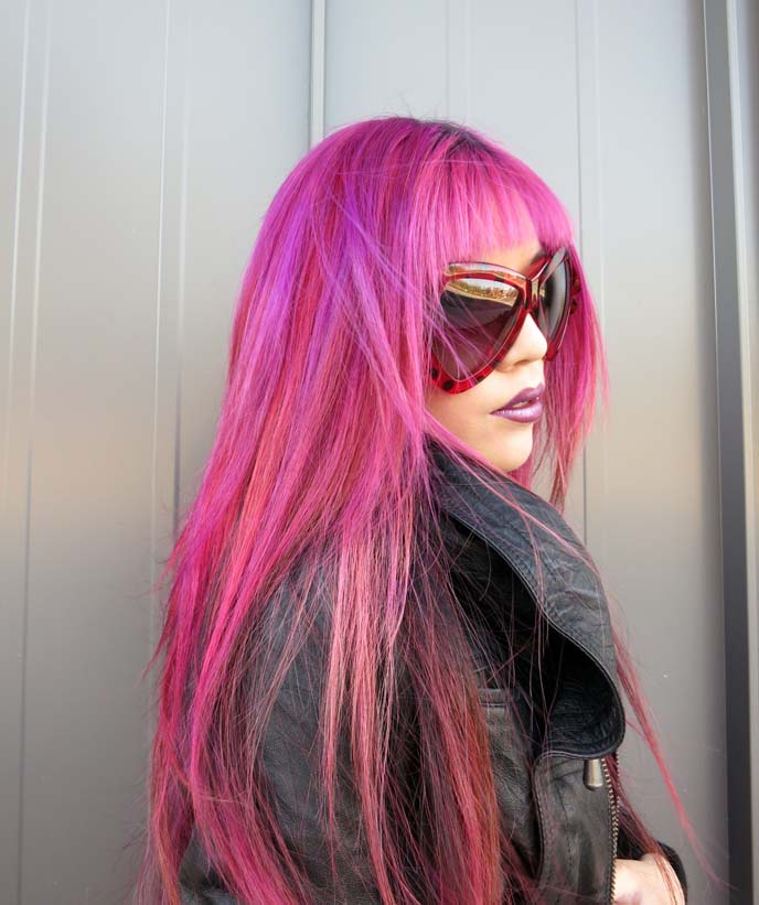 marc jacobs dot sunglasses, lady bug sunglasses, pink hair color