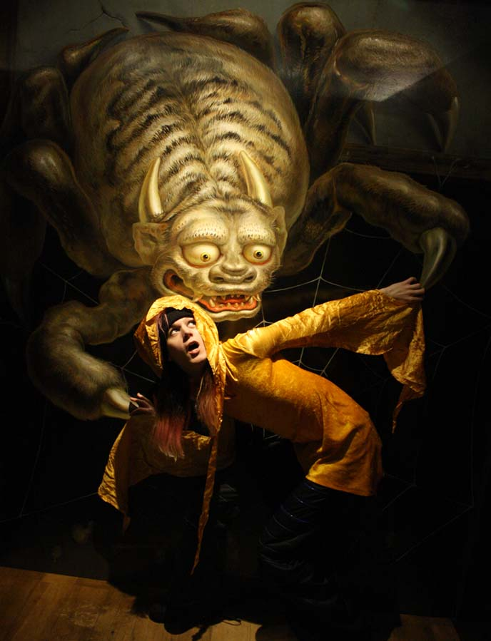japanese monsters painting, giant scary spider