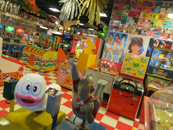 retro video game center, 1970s japanese idol posters