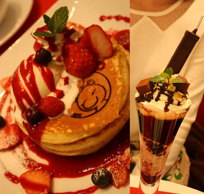 square enix pancakes, theme cafe, cute decorated pancakes