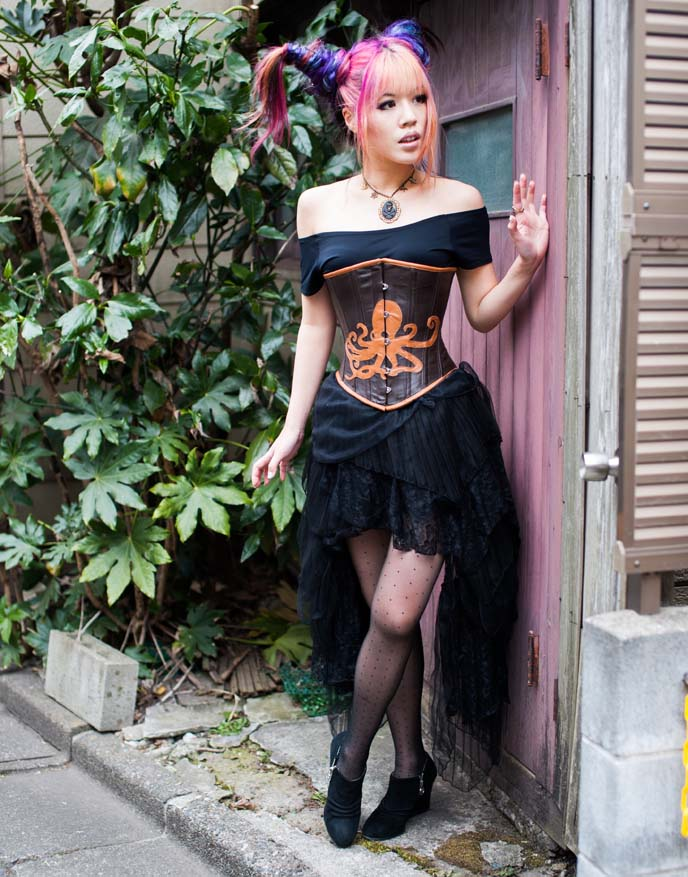 steampunk skirt, brass clockwork necklace, modeling