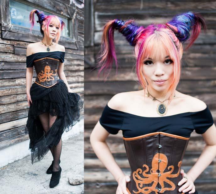 rainbow hair extensions, pink blue hair, steam-punk hair