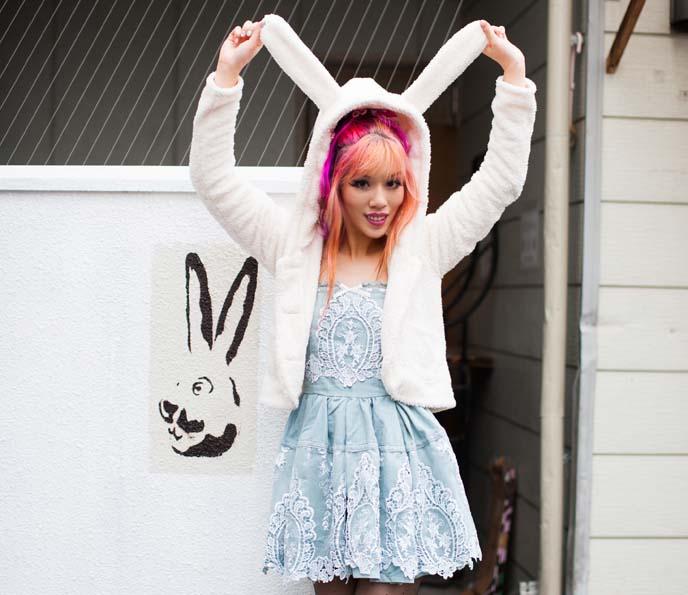 bunny ear hoodie, liz lisa dress, alice in wonderland outfit