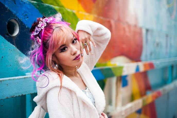 pink hair extensions, pastel goth hairstyle