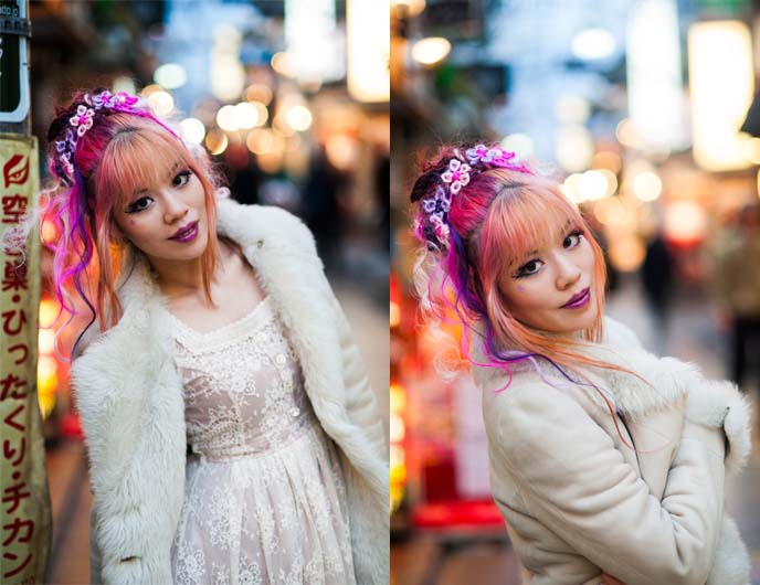 tokyo street fashion, cool japan hairstyle, pink hair girl
