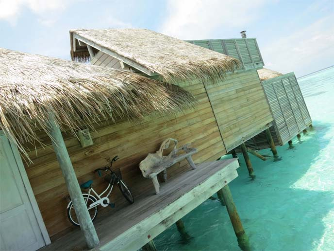 thatch roof overwater villa, maldives hut
