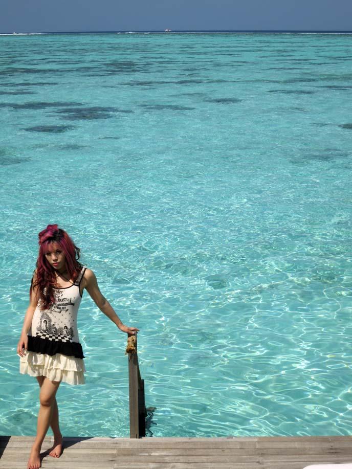 tropical ocean, blue water, coral reef Maldives