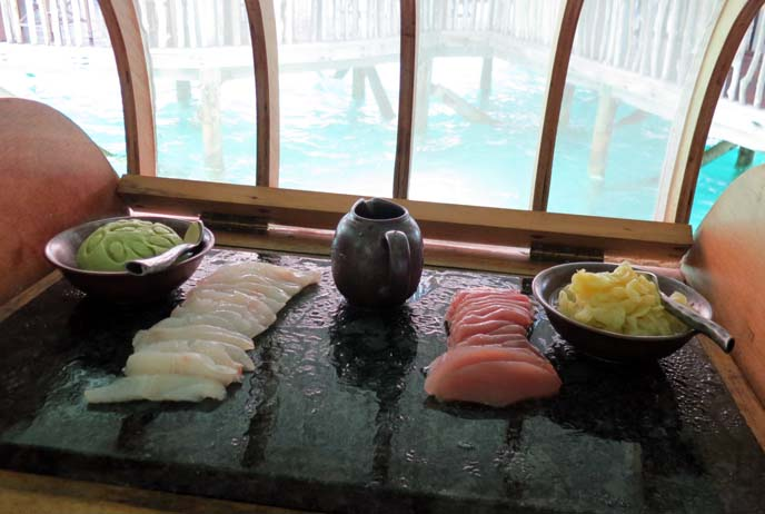 fresh sashimi, raw fish, japanese sushi