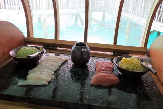 fresh sashimi, raw fish, japanese sushi