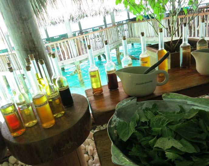 tropical salad bar, hotel resort restaurants