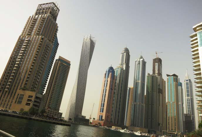 Dubai skyscrapers, twisting building, architecture