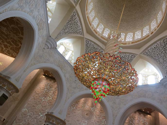 chandelier inside Sheikh Zayed Grand Mosque