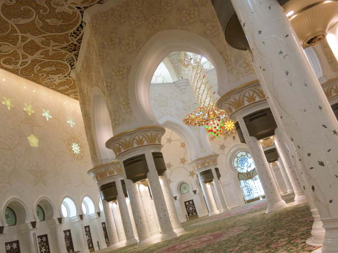 Sheikh Zayed Mosque main prayer hall, columns, windows