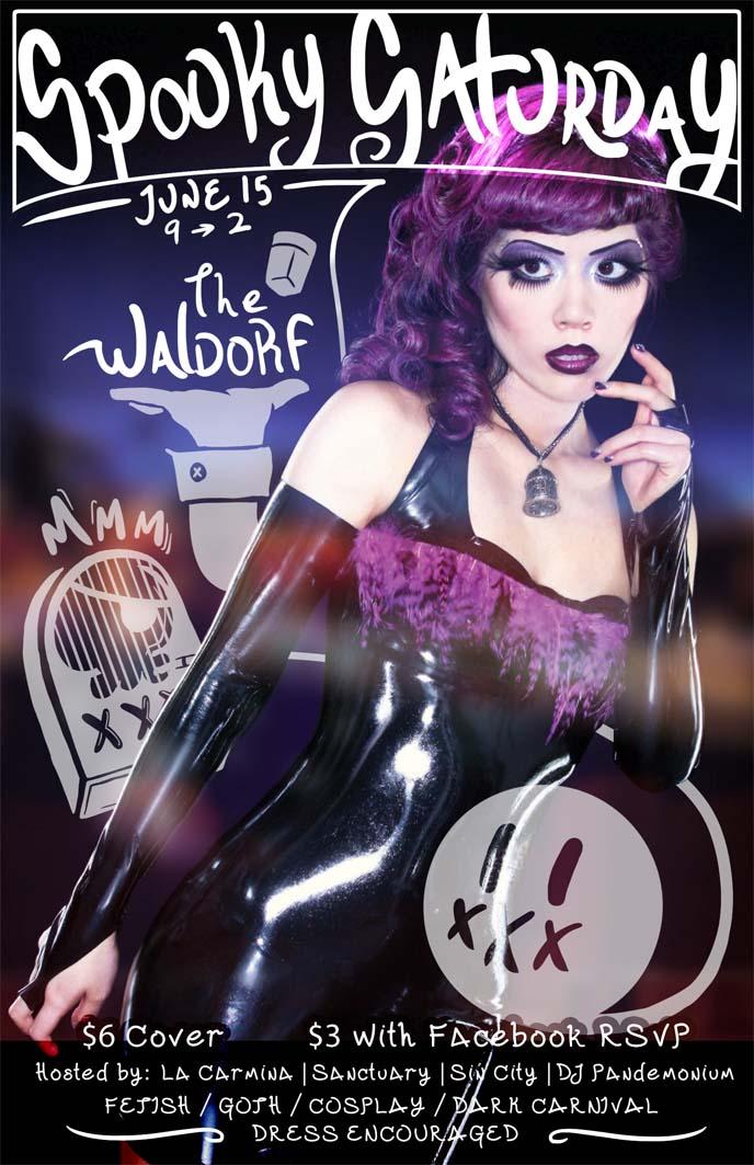 sin city vancouver, la carmina party, goth club poster, flyer