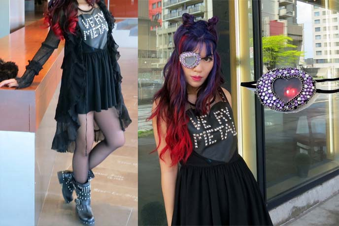 studded biker boots, heavy metal dress, goth eyepatch