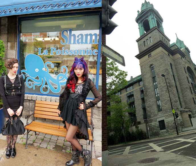 Montreal gothic church, hipsters, shops
