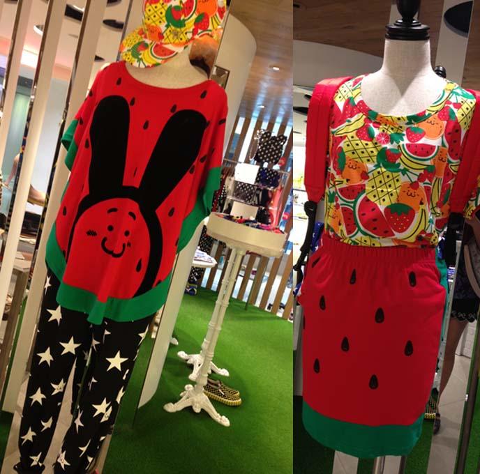 watermelon skirt, fruit top, street style harajuku