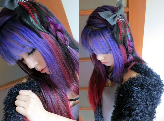 blue purple hair, blue dyed hair, braids