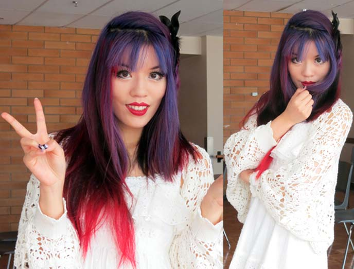 purple ombre hair, red hair ombre, goth hairstyles
