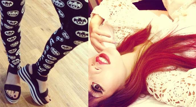 bat printed leggings, goth stockings