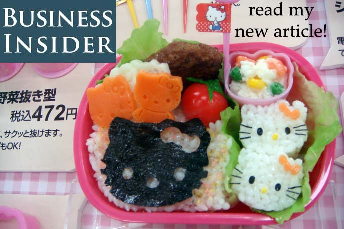 cute bento box, hello kitty food