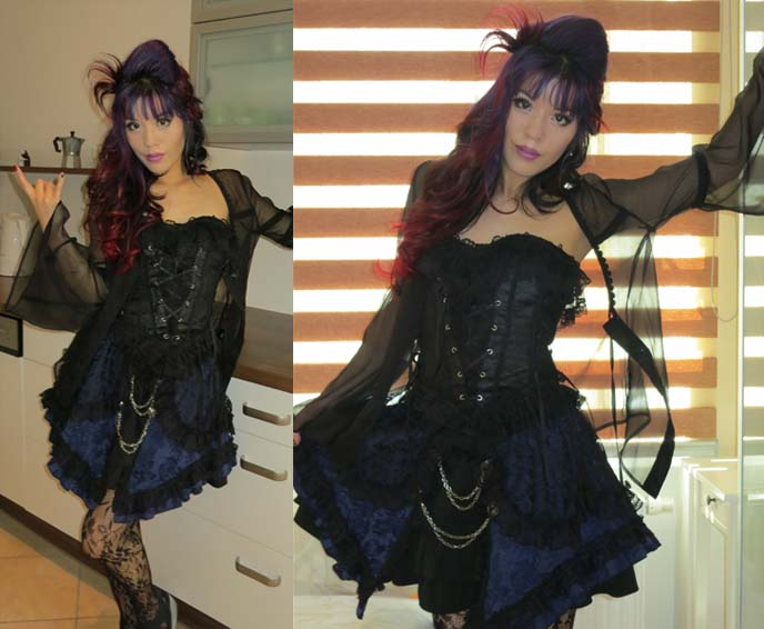 goth corset top, lolita skirt