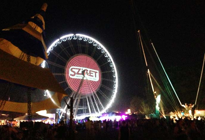 sziget festival ferris wheel, night lights