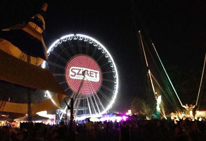 sziget festival ferris wheel, night lights