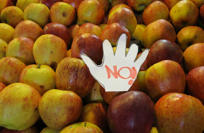 don't touch fruit sign