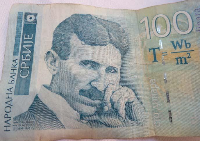 Nikola Tesla serbian inventor, Dinar money