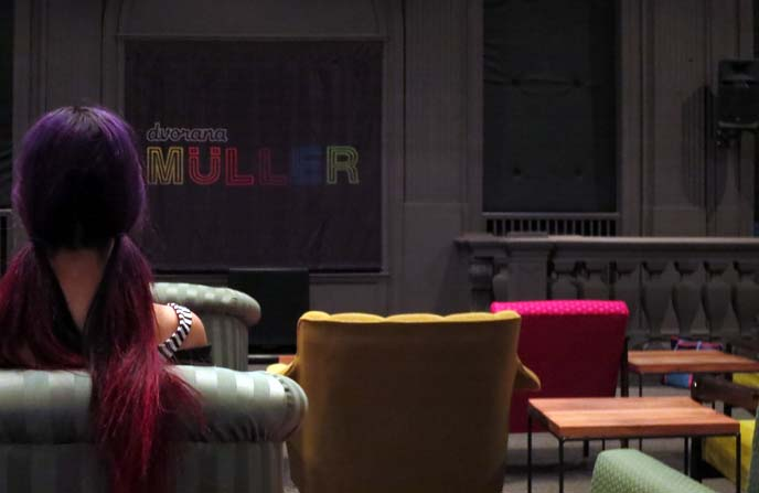 purple hair pigtails, colorful sofas